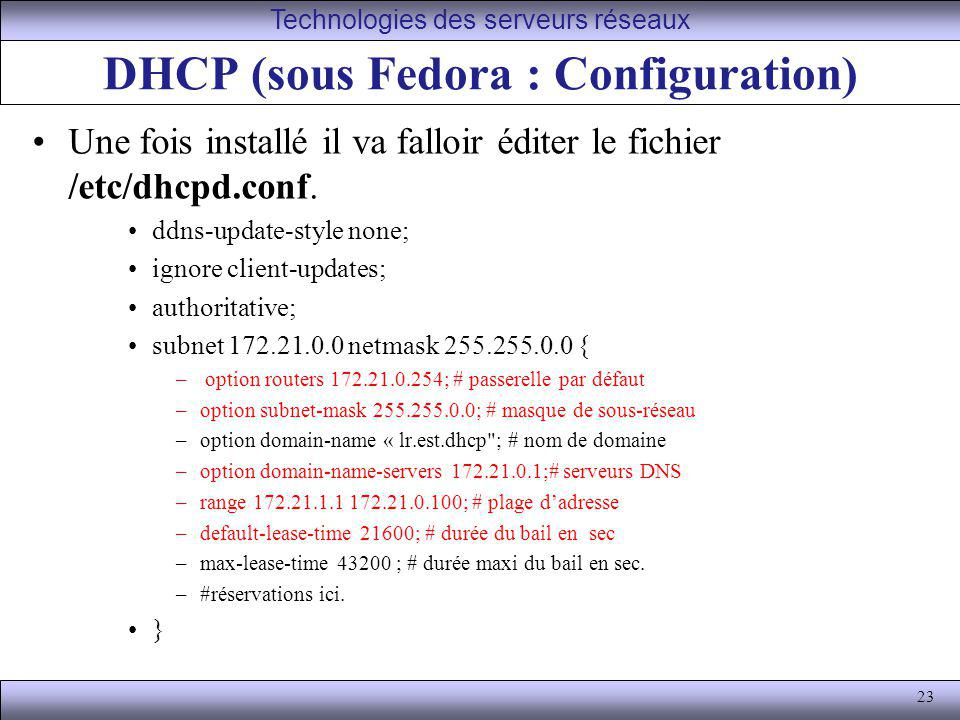 DHCP (sous Fedora : Configuration)