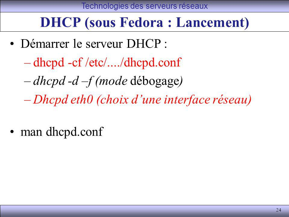 DHCP (sous Fedora : Lancement)