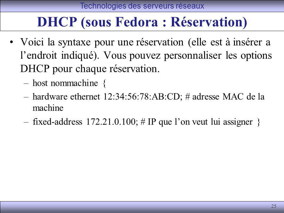 DHCP (sous Fedora : Réservation)