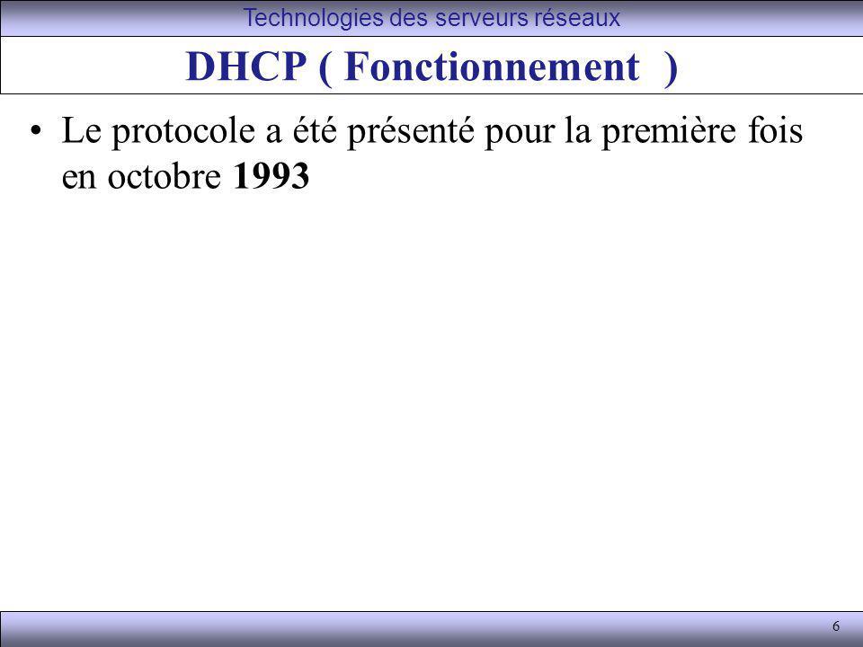 DHCP ( Fonctionnement )