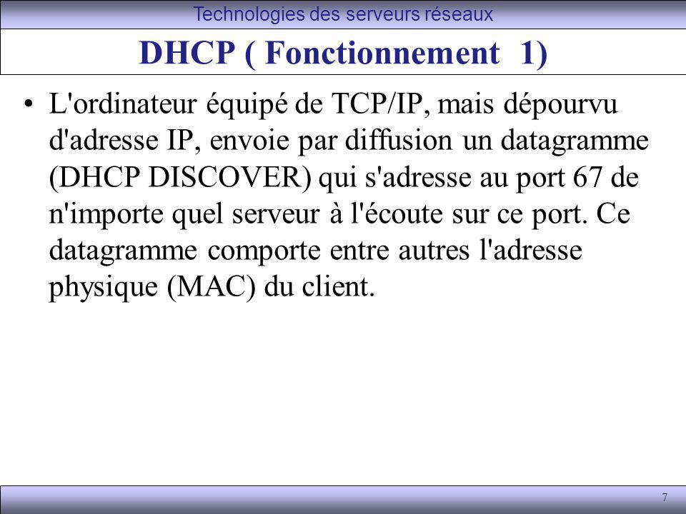 DHCP ( Fonctionnement 1)