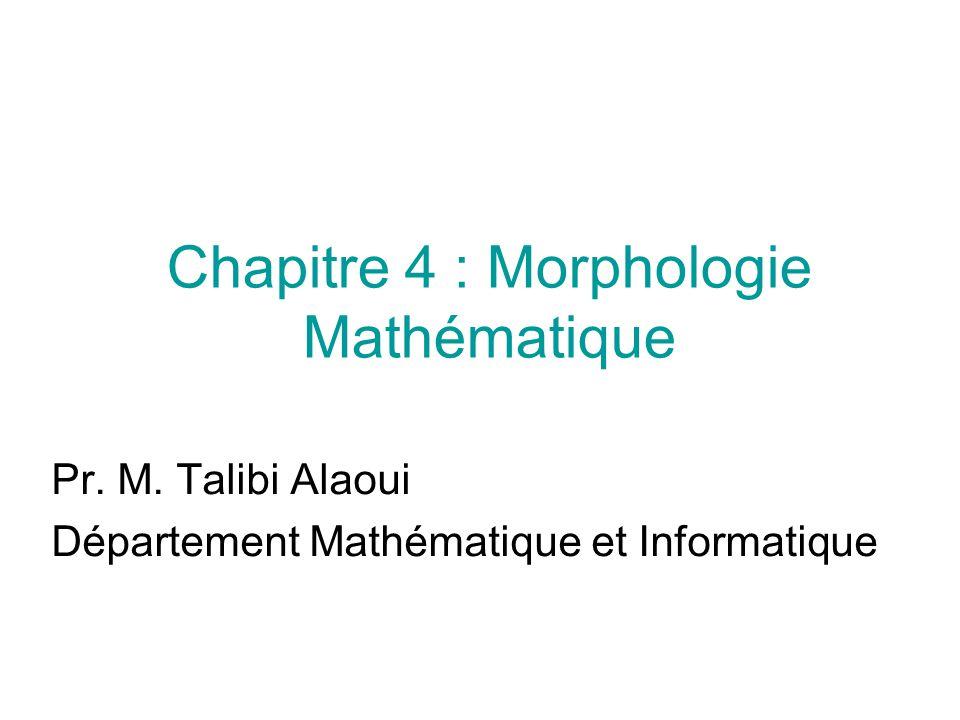 Chapitre 4 : Morphologie Mathématique