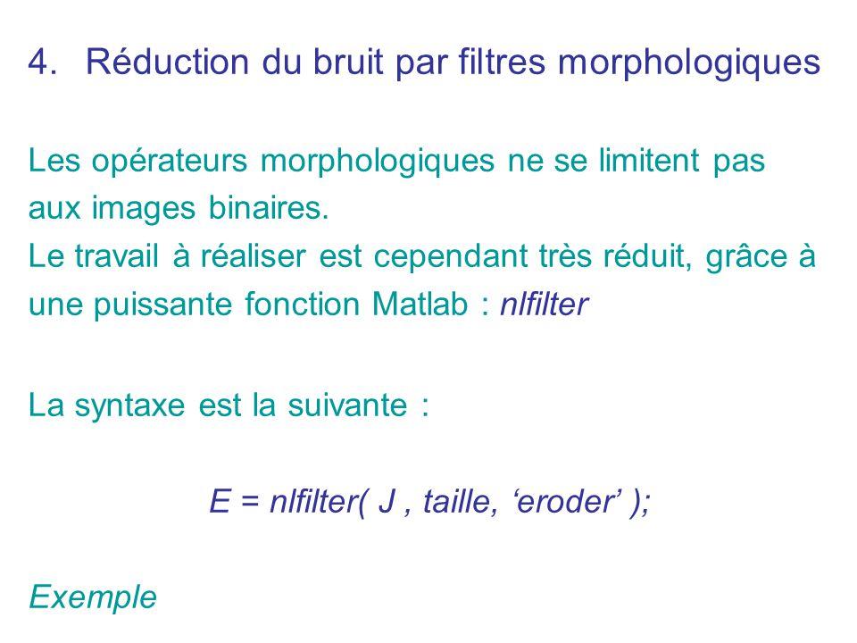 Réduction du bruit par filtres morphologiques