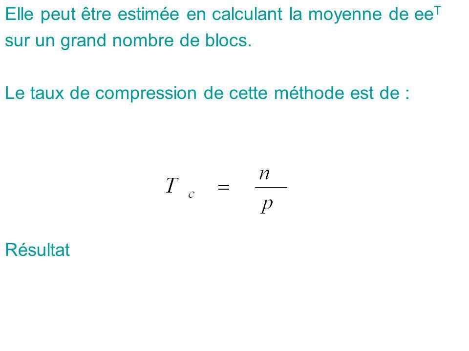 Elle peut être estimée en calculant la moyenne de eeT