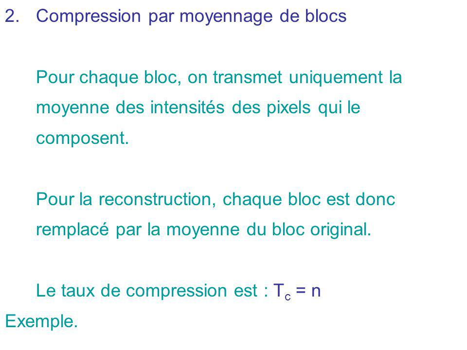 Compression par moyennage de blocs