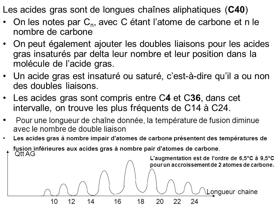 Les acides gras sont de longues chaînes aliphatiques (C40)