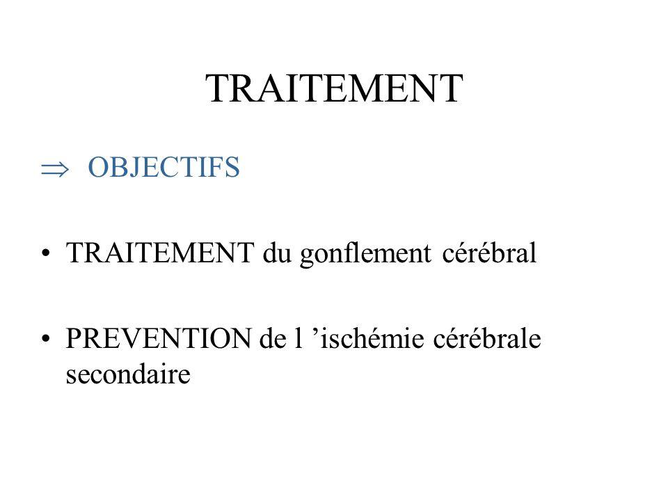 TRAITEMENT OBJECTIFS TRAITEMENT du gonflement cérébral