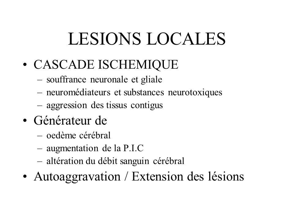 LESIONS LOCALES CASCADE ISCHEMIQUE Générateur de