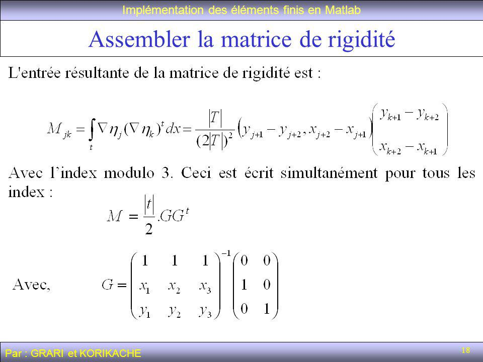 Assembler la matrice de rigidité