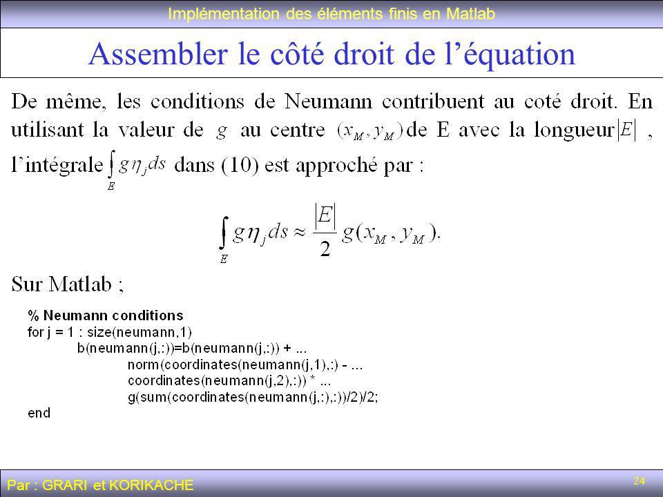 Assembler le côté droit de l'équation