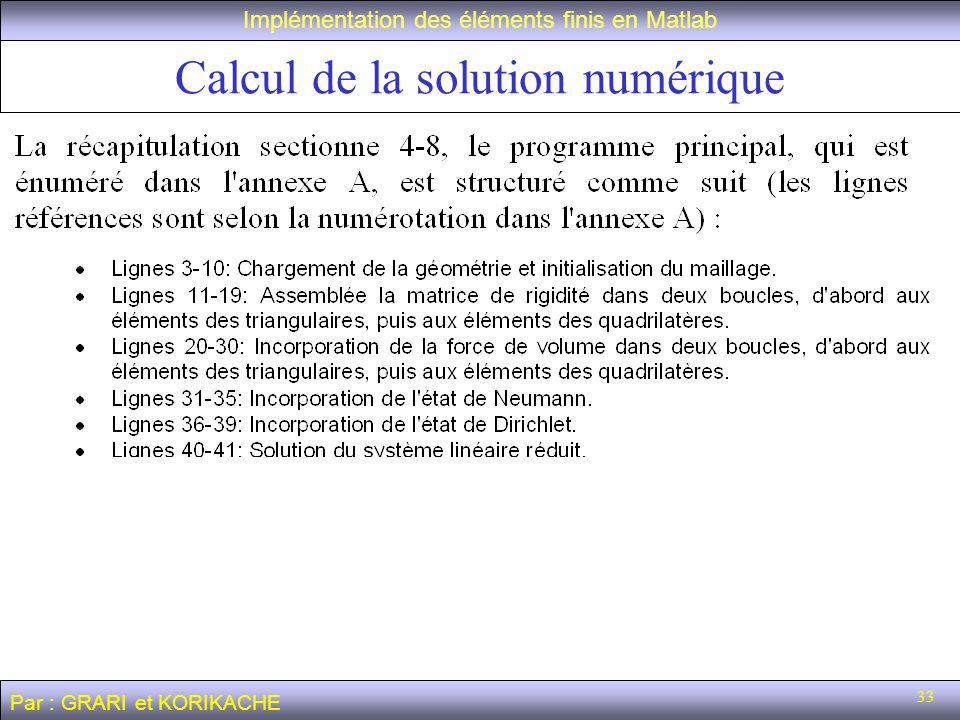 Calcul de la solution numérique