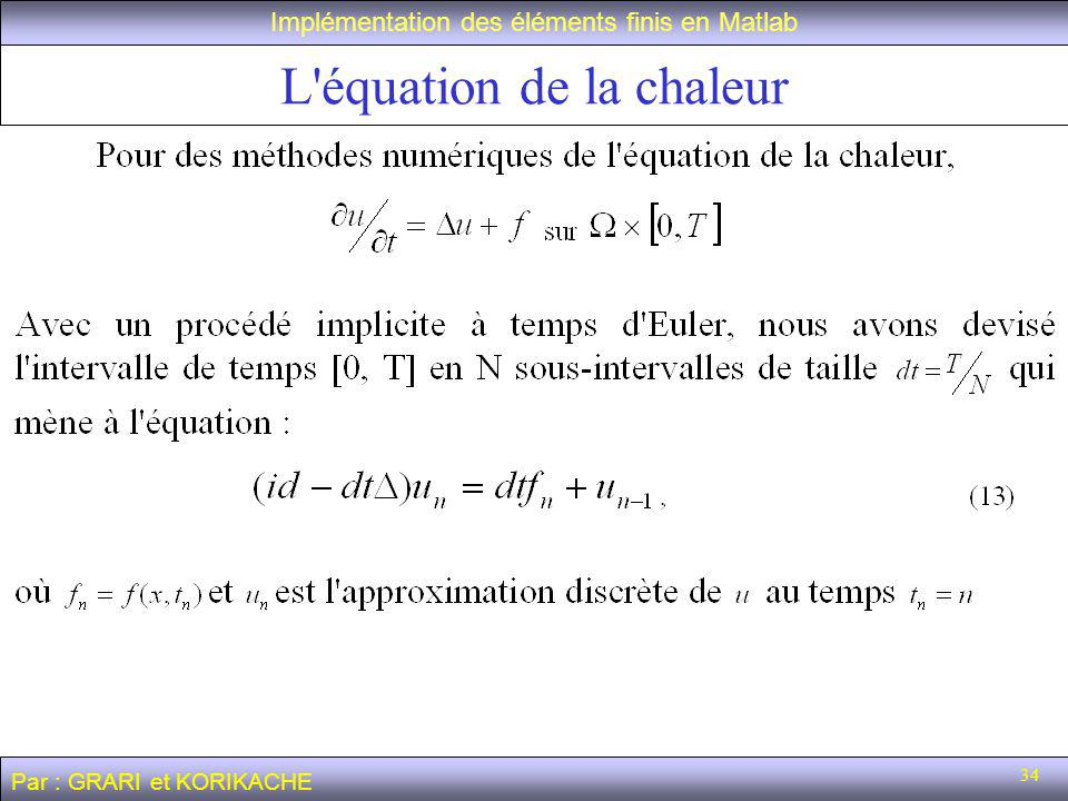 L équation de la chaleur