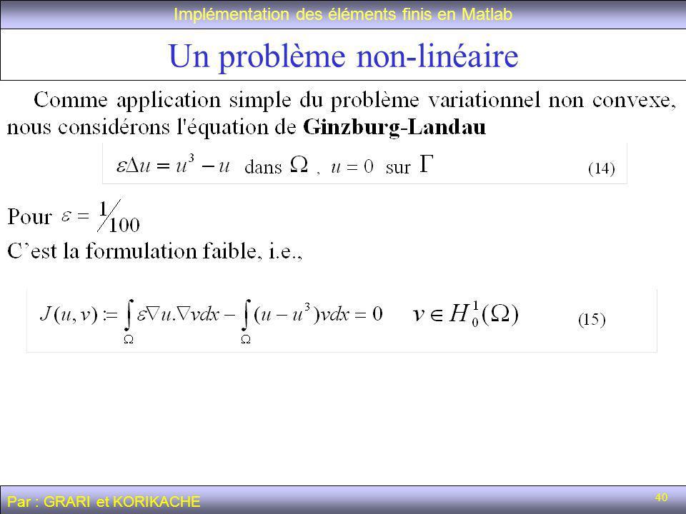 Un problème non-linéaire