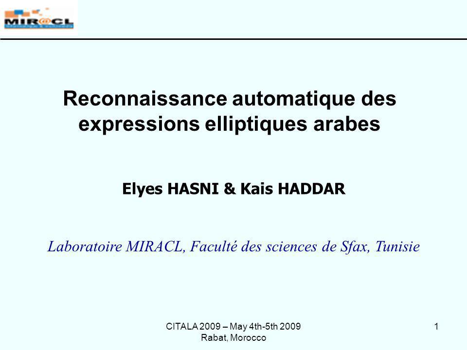 Reconnaissance automatique des expressions elliptiques arabes