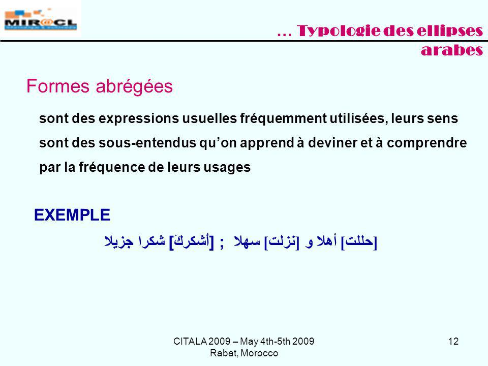 Formes abrégées … Typologie des ellipses arabes EXEMPLE
