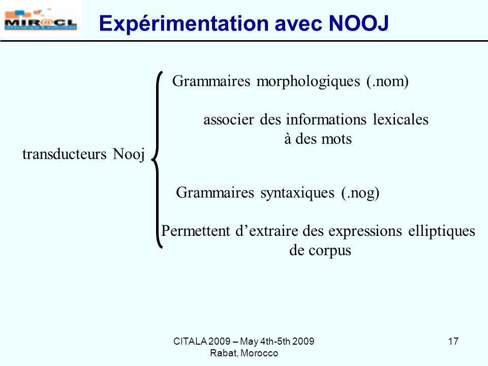 Expérimentation avec NOOJ