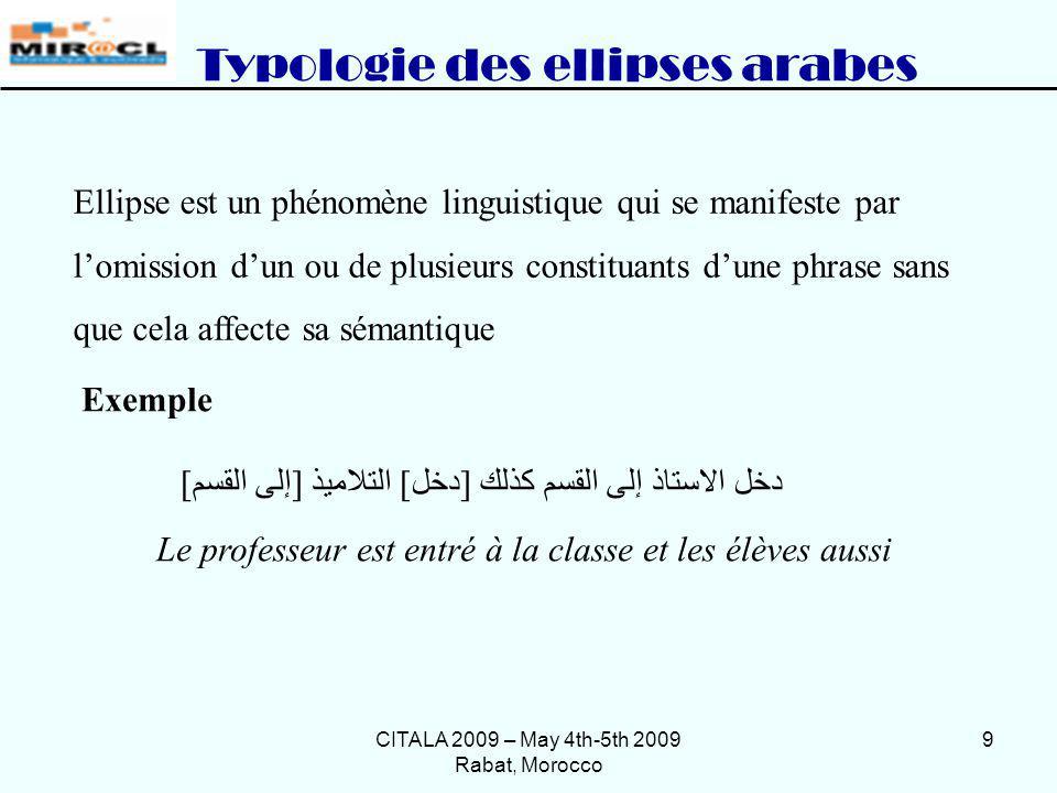 Typologie des ellipses arabes