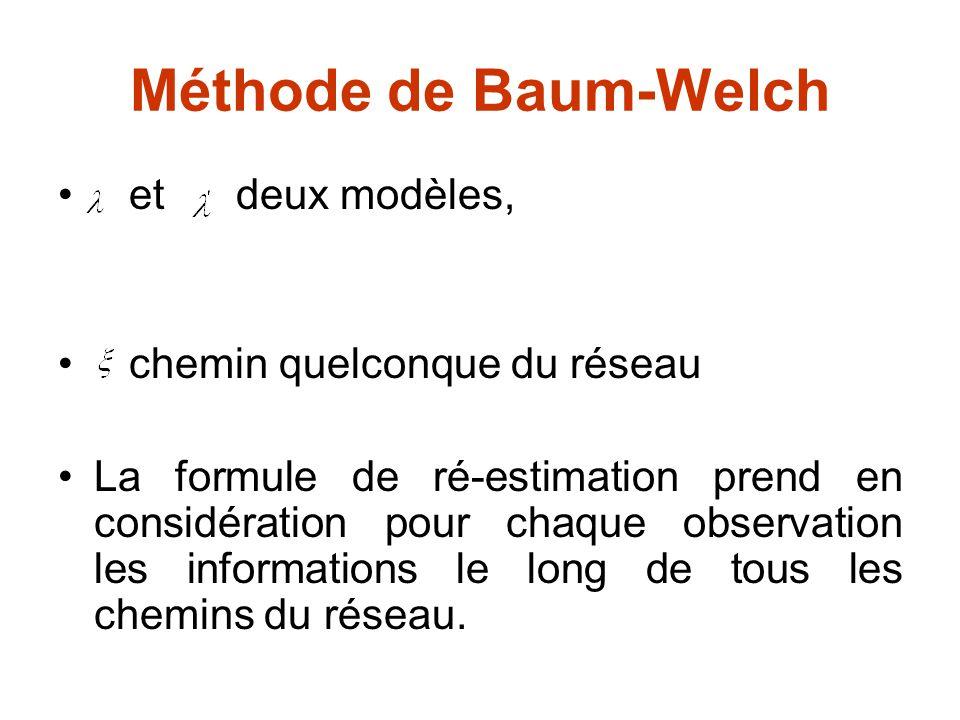 Méthode de Baum-Welch et deux modèles, chemin quelconque du réseau