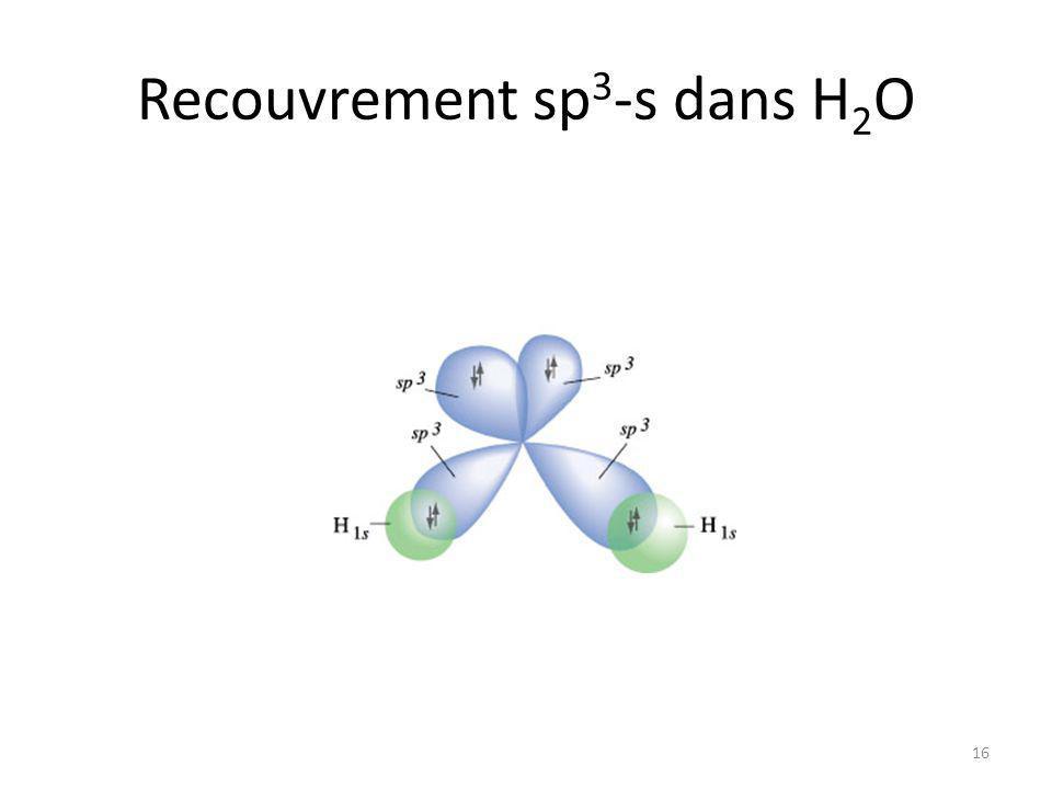 Recouvrement sp3-s dans H2O
