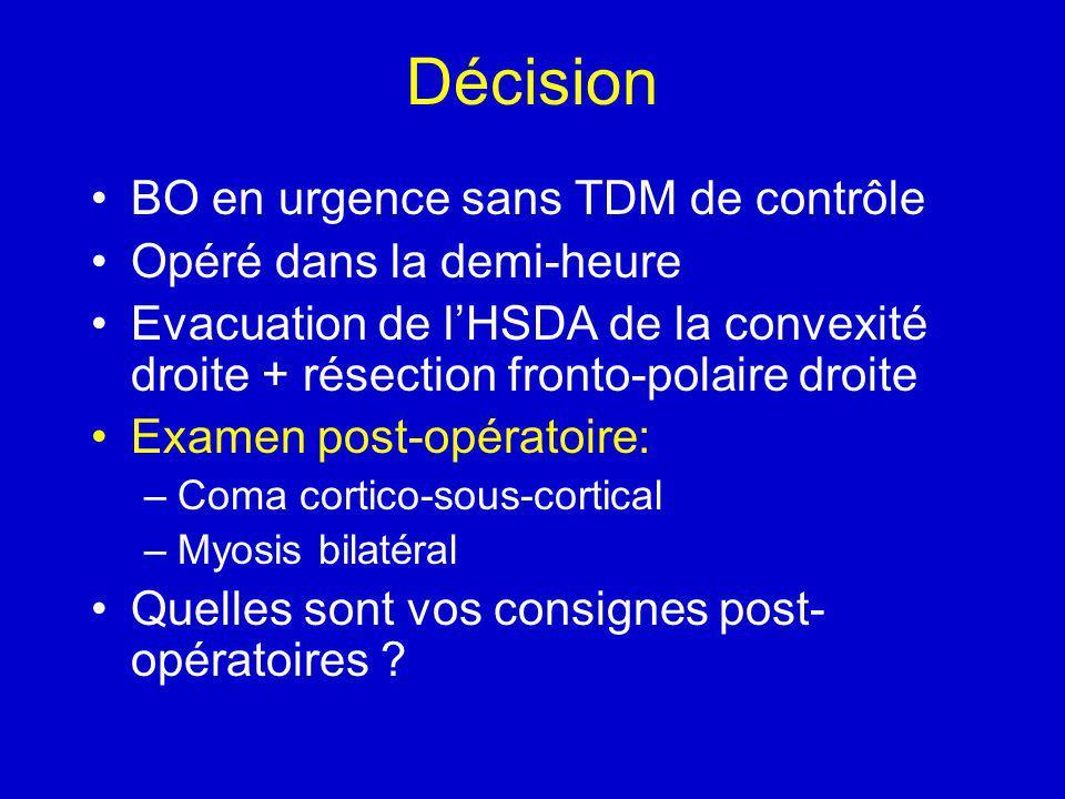 Décision BO en urgence sans TDM de contrôle Opéré dans la demi-heure