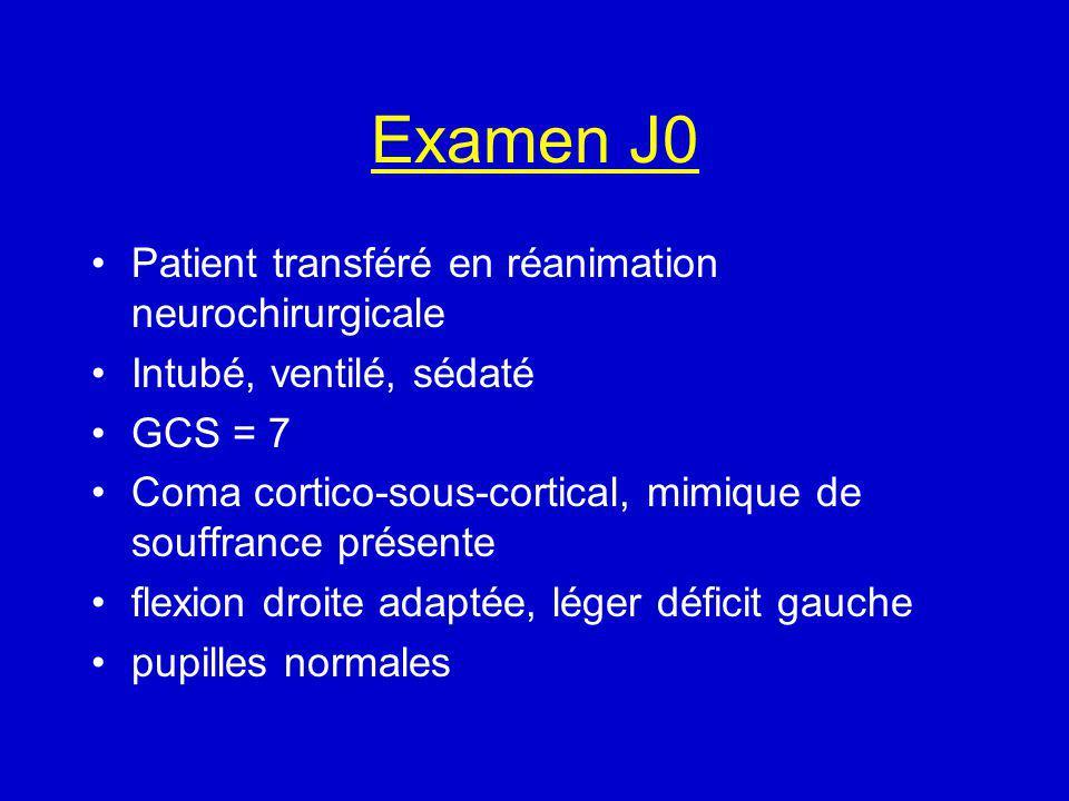 Examen J0 Patient transféré en réanimation neurochirurgicale