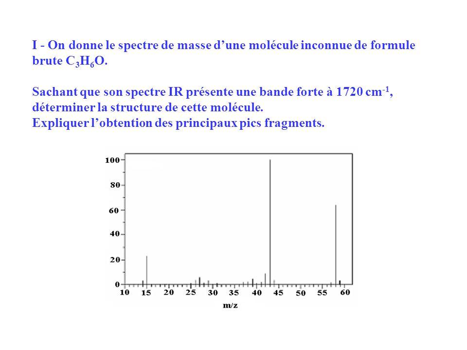I - On donne le spectre de masse d'une molécule inconnue de formule brute C3H6O.