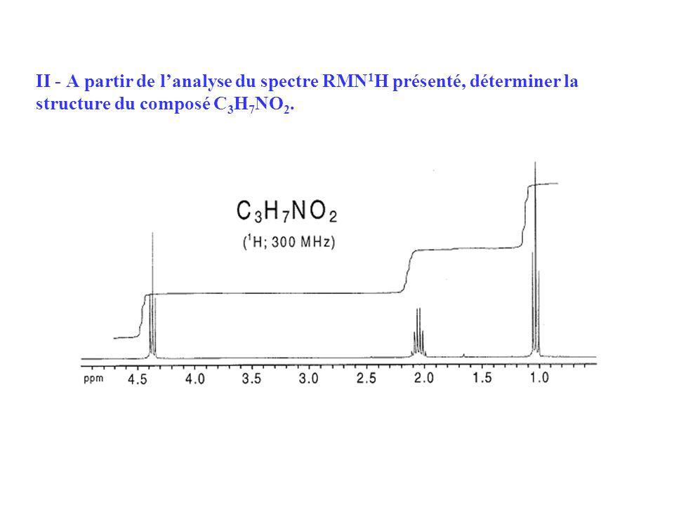 II - A partir de l'analyse du spectre RMN1H présenté, déterminer la structure du composé C3H7NO2.