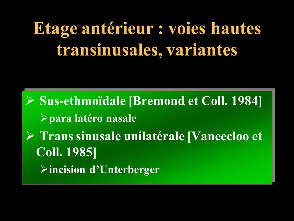 Etage antérieur : voies hautes transinusales, variantes
