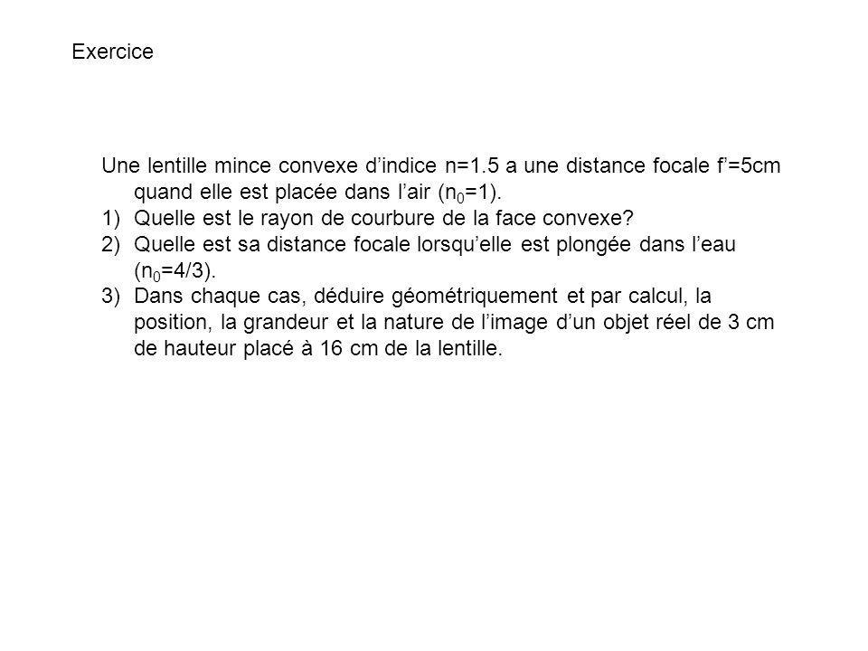 Exercice Une lentille mince convexe d'indice n=1.5 a une distance focale f'=5cm quand elle est placée dans l'air (n0=1).