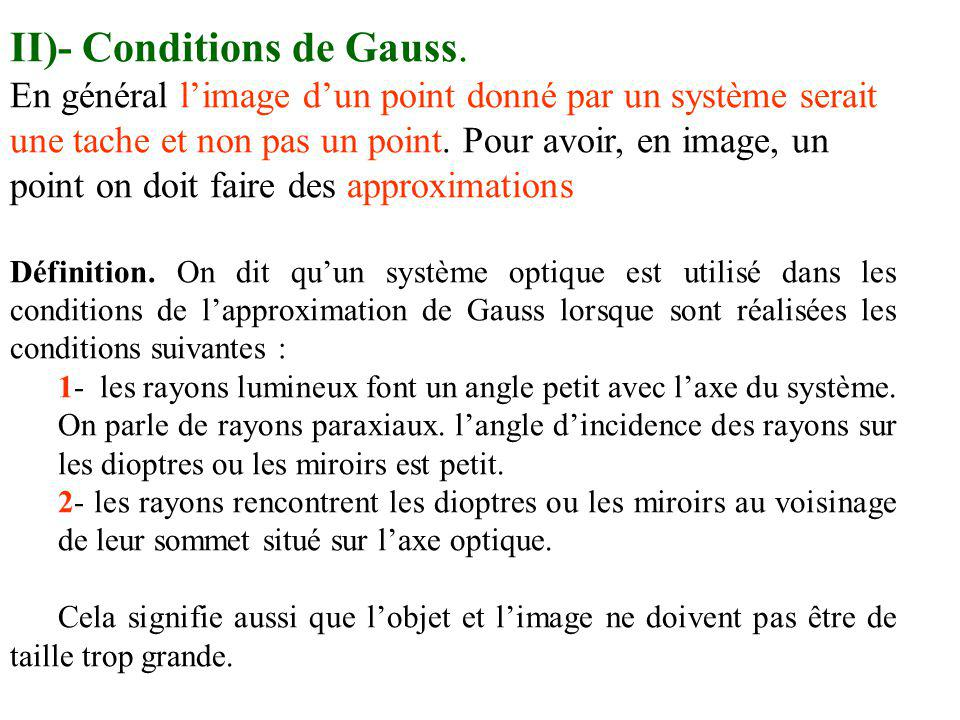 II)- Conditions de Gauss.