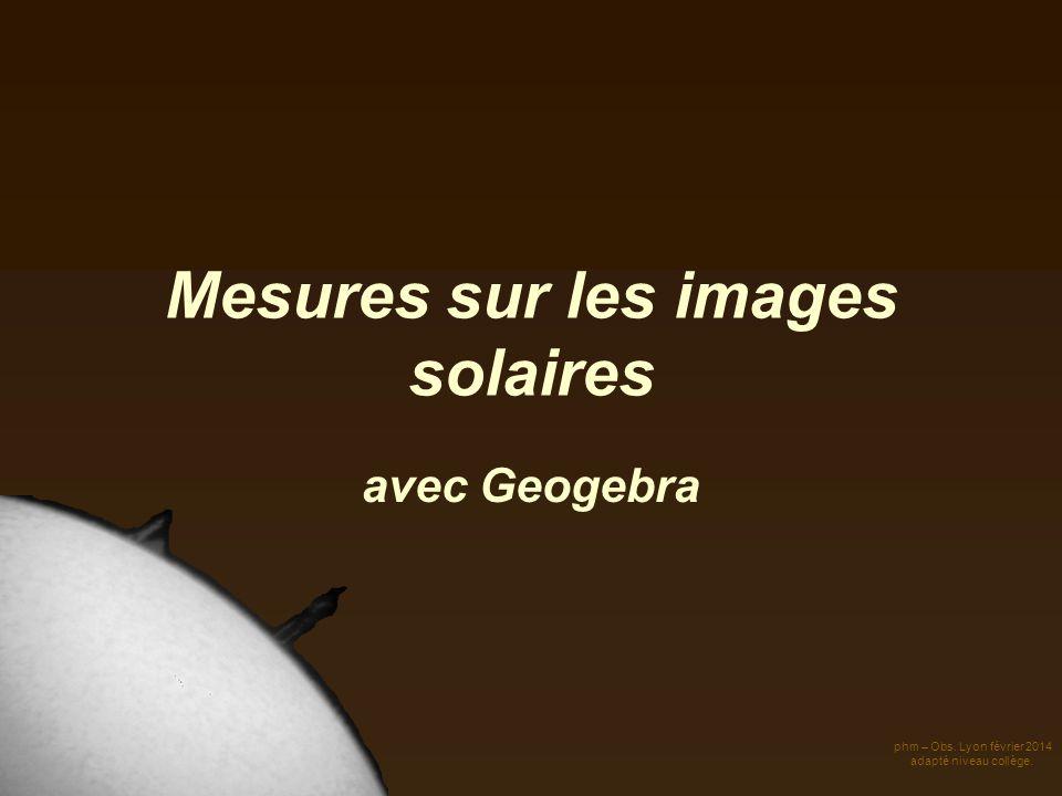 Mesures sur les images solaires