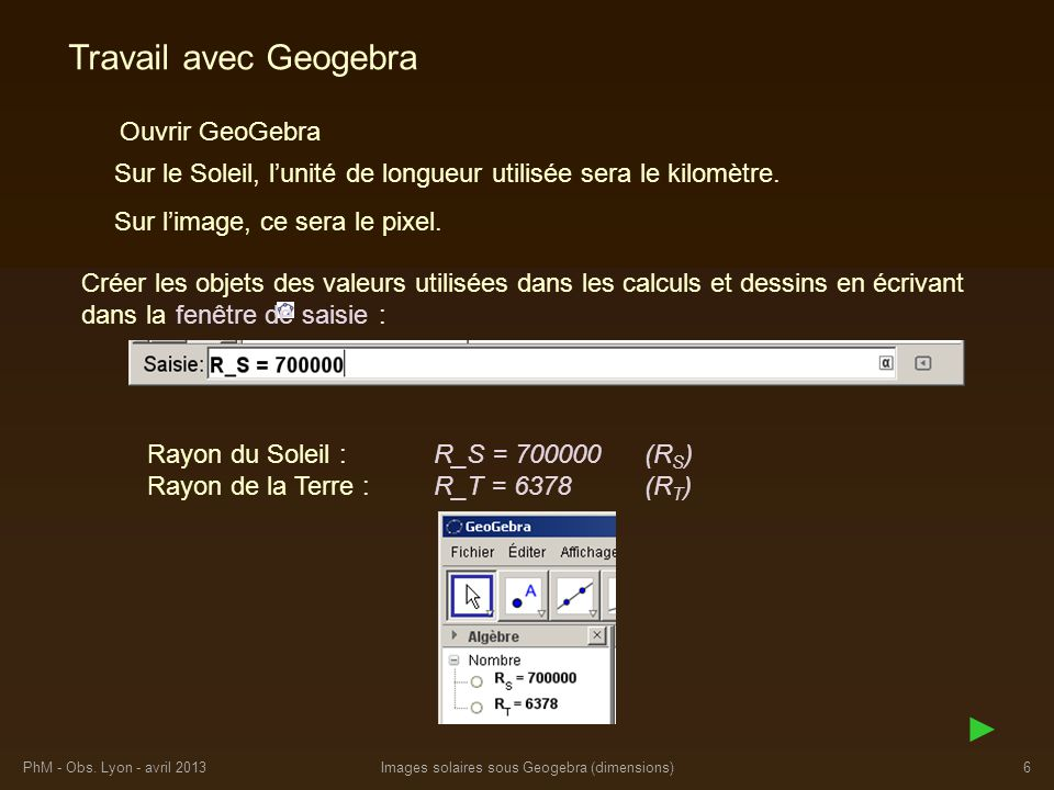Images solaires sous Geogebra (dimensions)