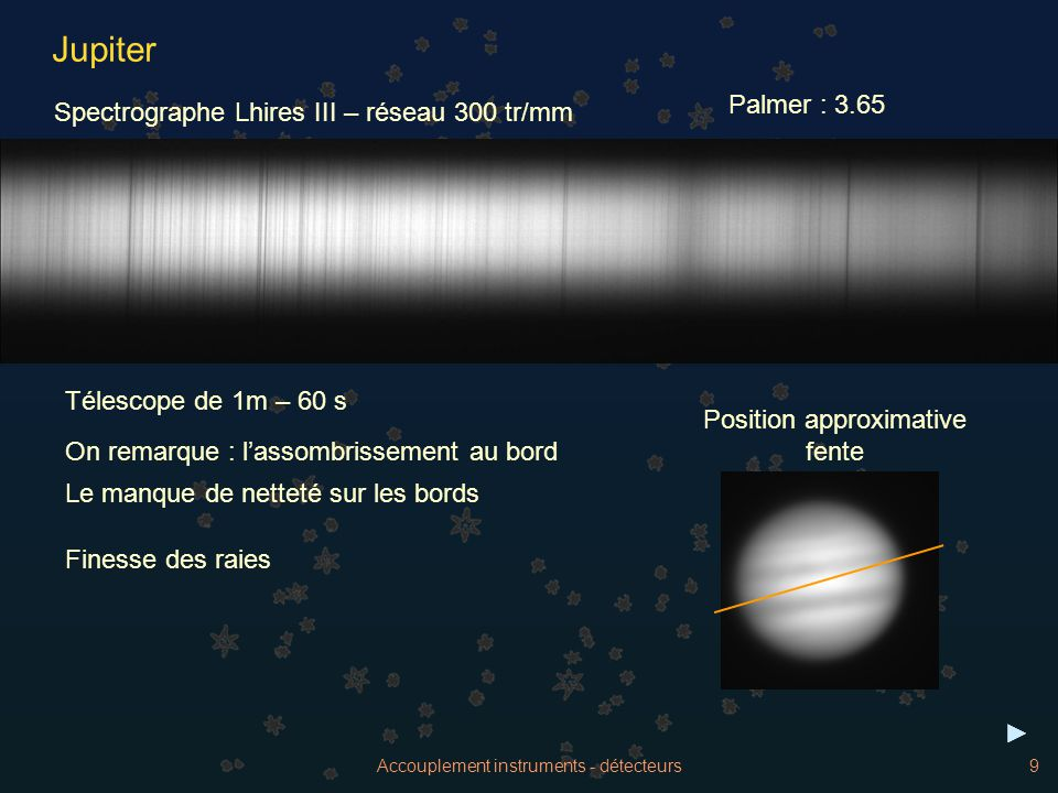 Jupiter Palmer : 3.65 Spectrographe Lhires III – réseau 300 tr/mm