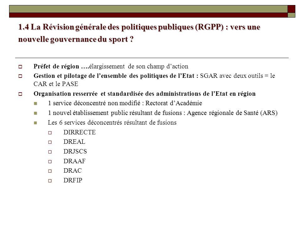 1.4 La Révision générale des politiques publiques (RGPP) : vers une nouvelle gouvernance du sport