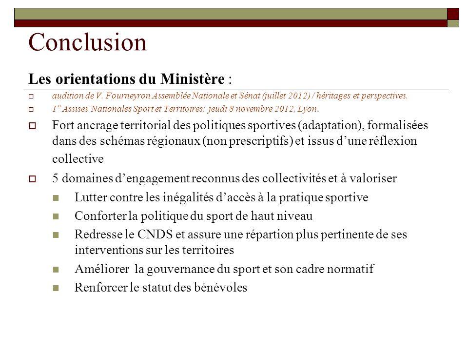 Conclusion Les orientations du Ministère :