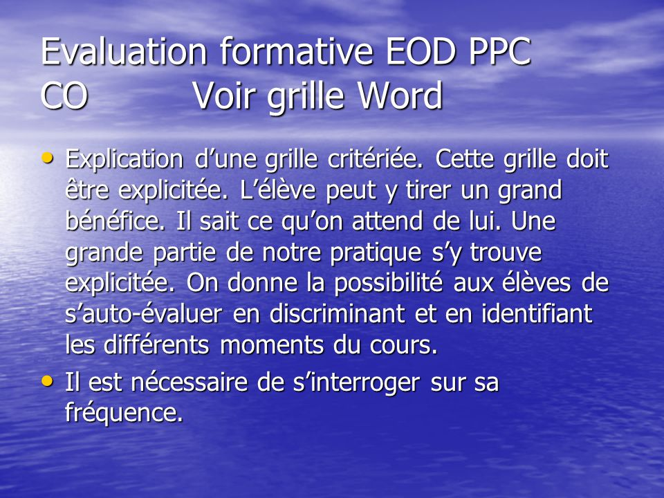 Evaluation formative EOD PPC CO Voir grille Word