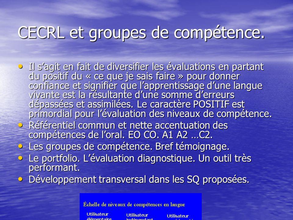 CECRL et groupes de compétence.