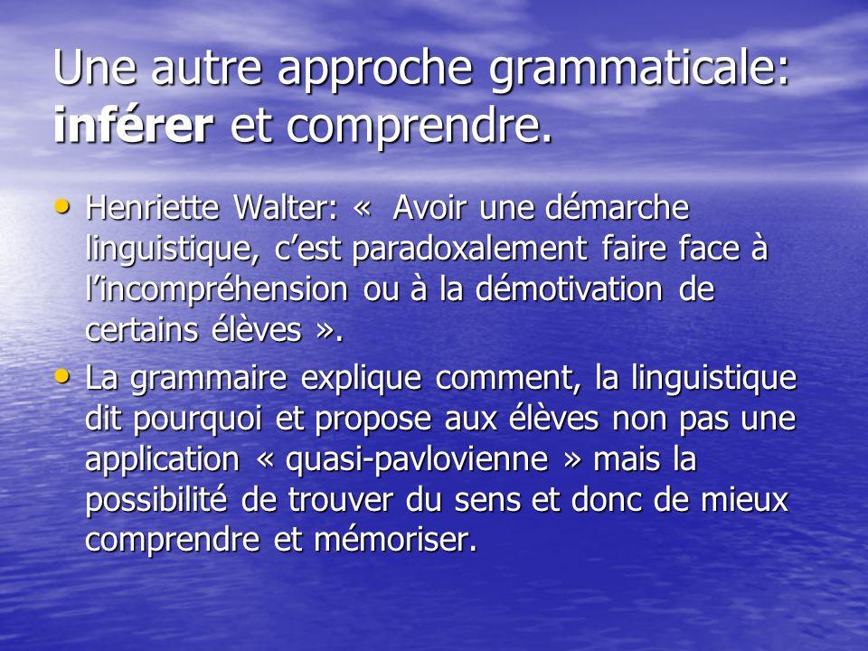Une autre approche grammaticale: inférer et comprendre.