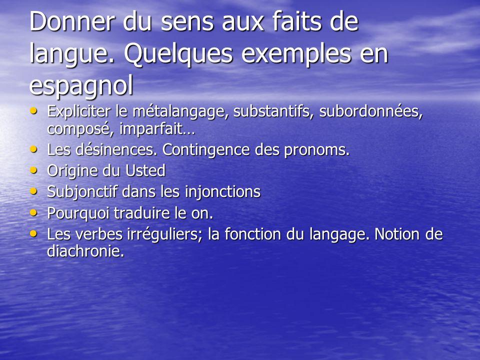 Donner du sens aux faits de langue. Quelques exemples en espagnol