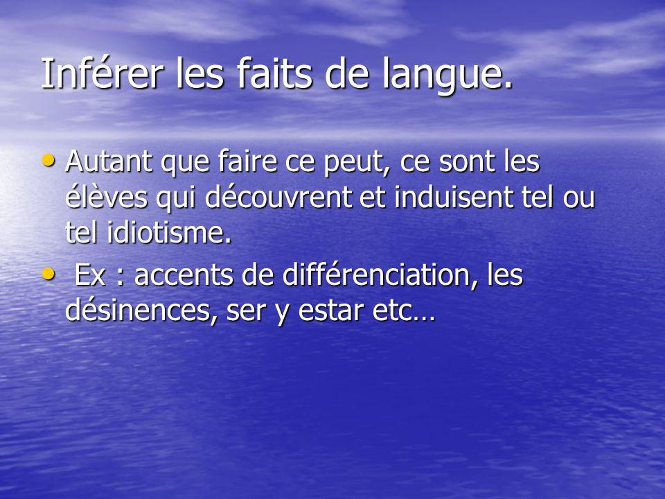 Inférer les faits de langue.