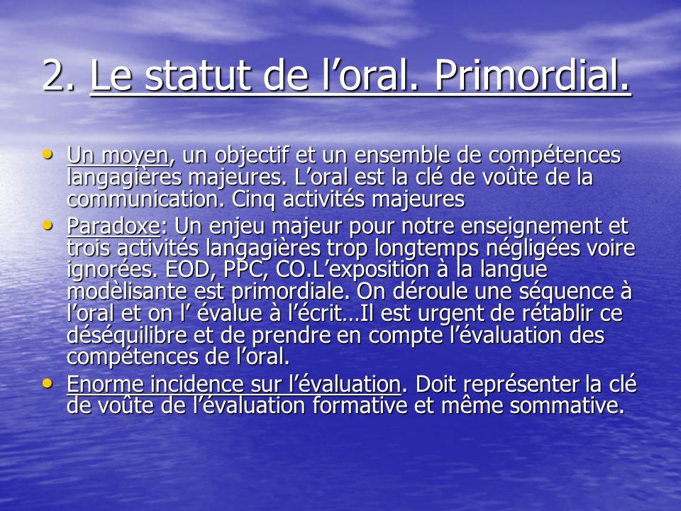 2. Le statut de l'oral. Primordial.