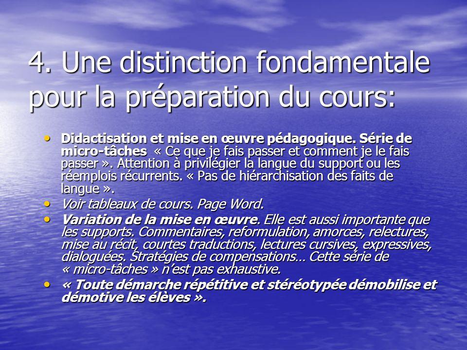4. Une distinction fondamentale pour la préparation du cours: