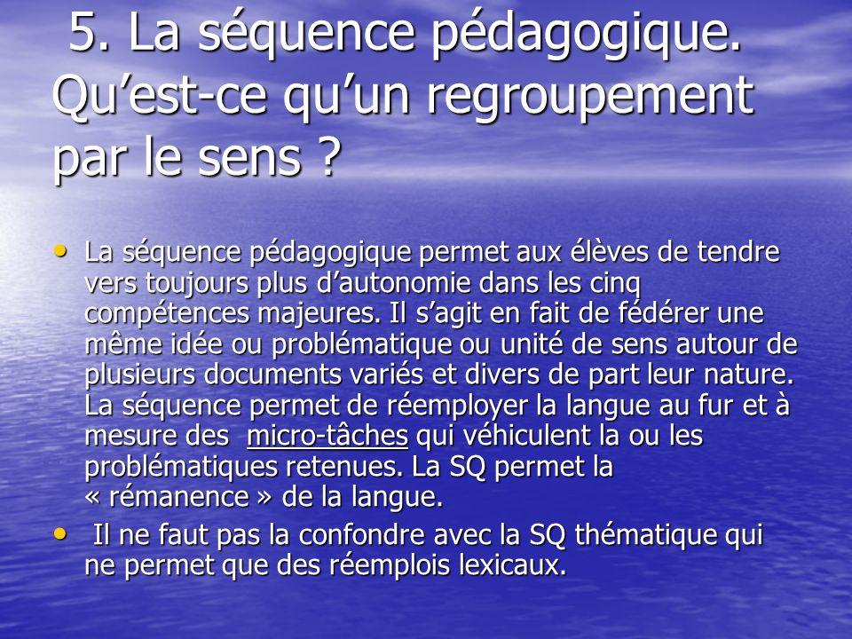 5. La séquence pédagogique. Qu'est-ce qu'un regroupement par le sens