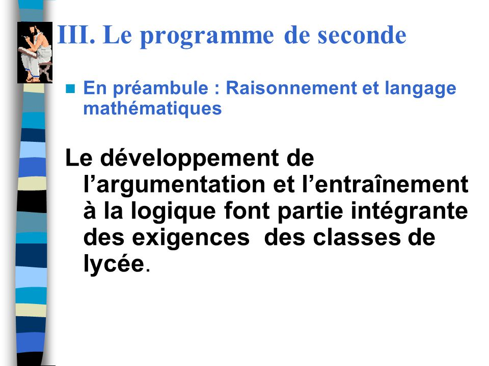 III. Le programme de seconde