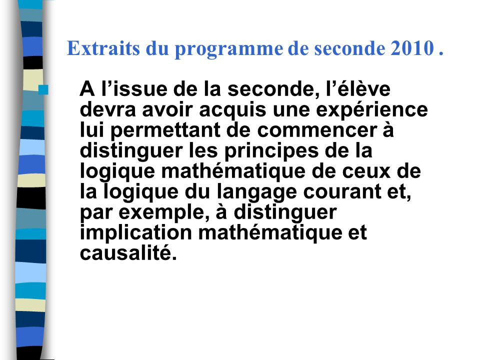 Extraits du programme de seconde 2010 .