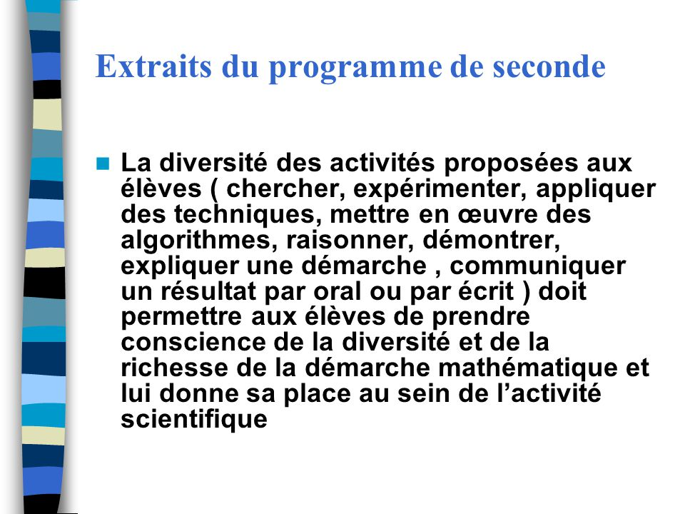 Extraits du programme de seconde