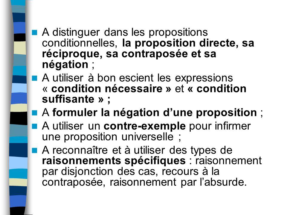 A distinguer dans les propositions conditionnelles, la proposition directe, sa réciproque, sa contraposée et sa négation ;