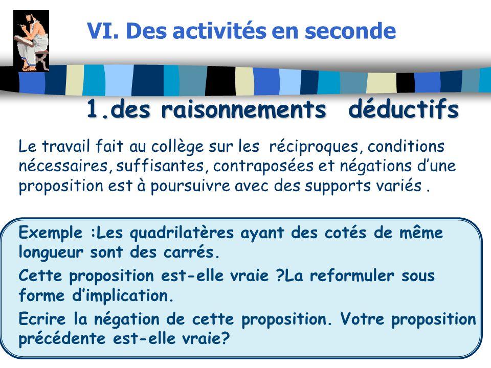 VI. Des activités en seconde 1.des raisonnements déductifs
