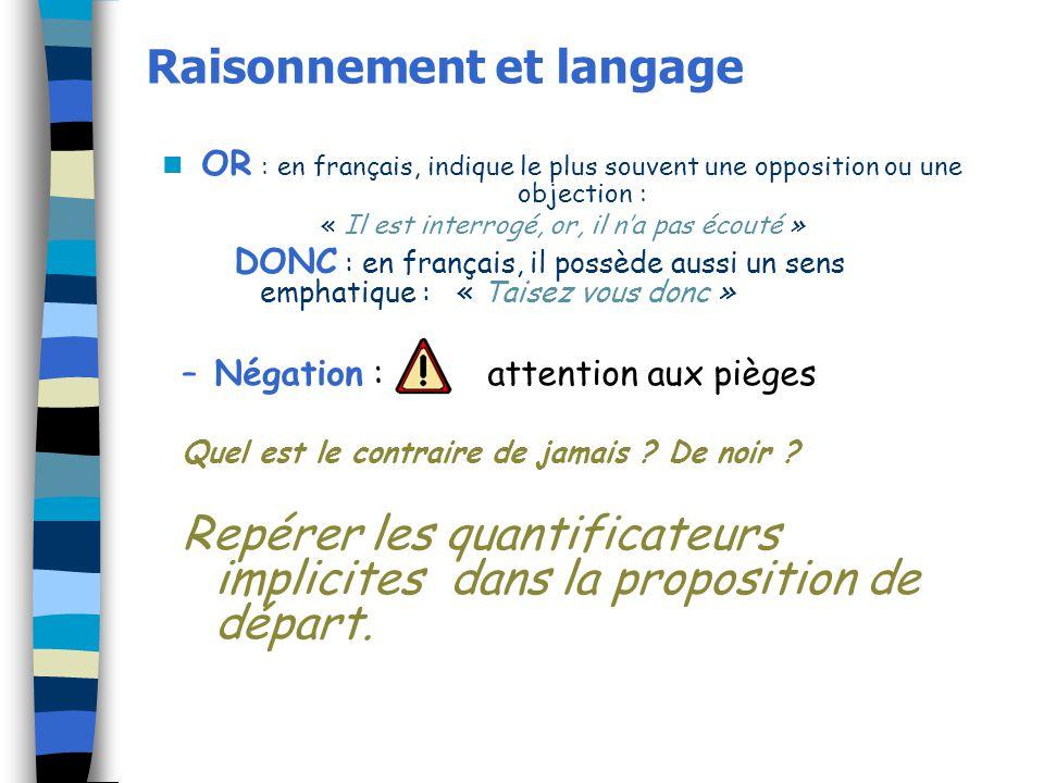 Raisonnement et langage