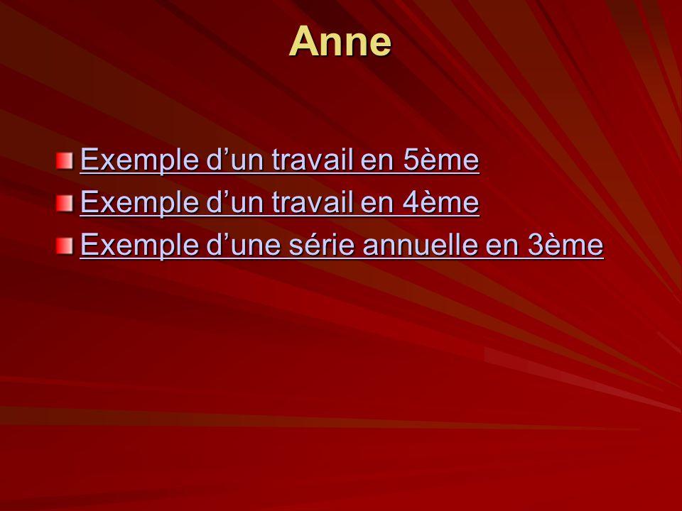 Anne Exemple d'un travail en 5ème Exemple d'un travail en 4ème